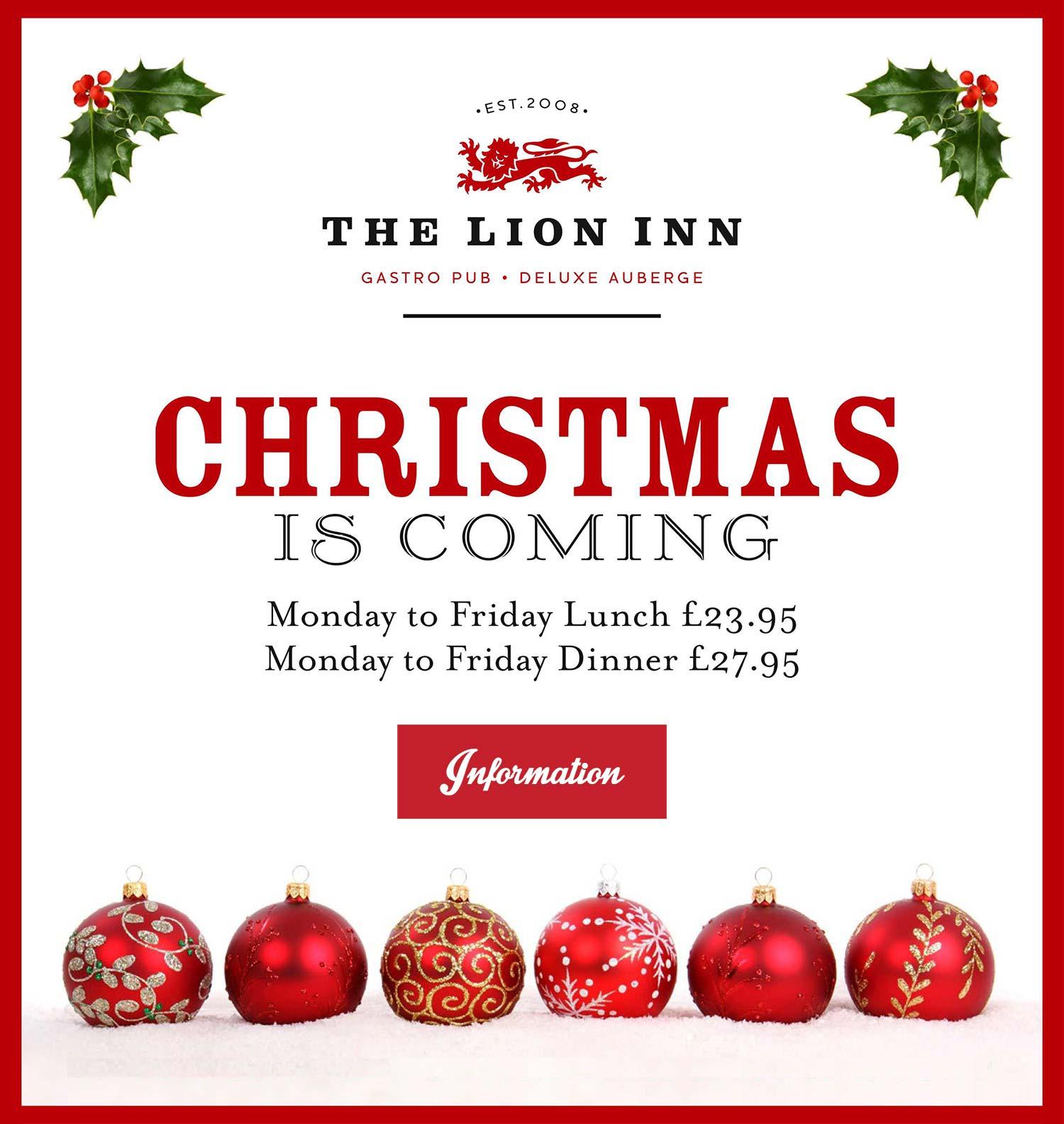 The Lion Inn – Christmas Menu 2017