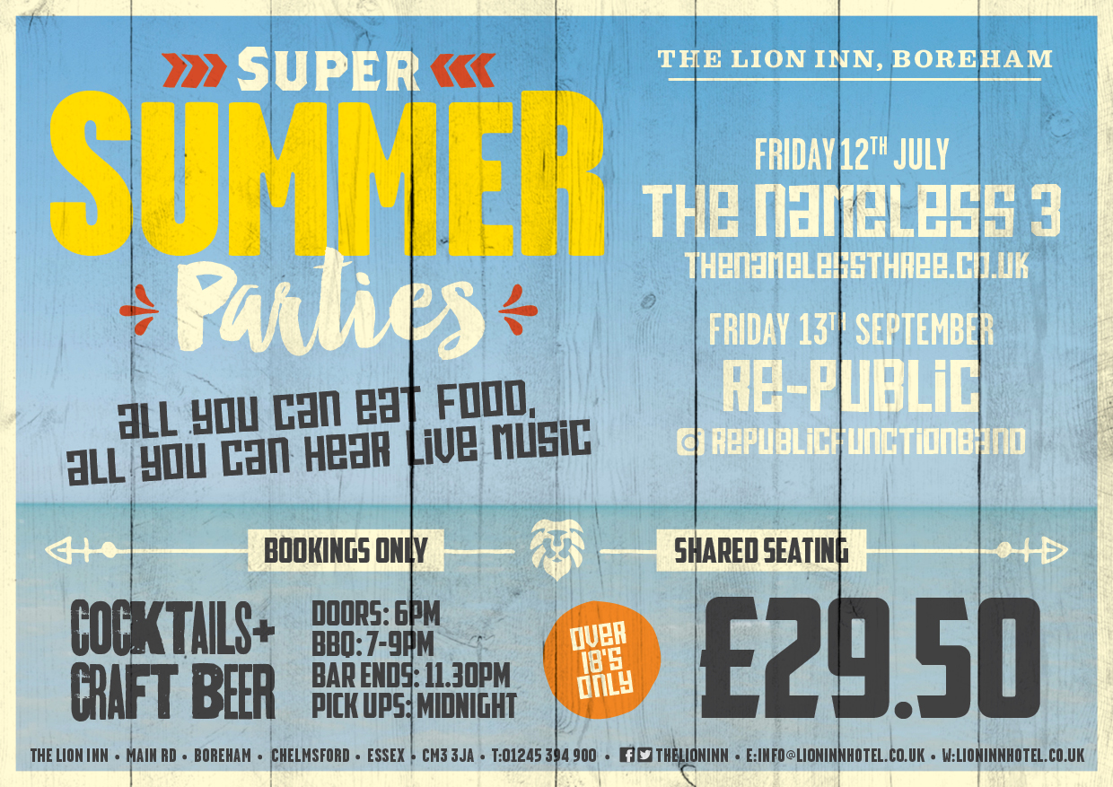 Summer Parties 2019 A5 horizontal Press Advert 2019 02 27